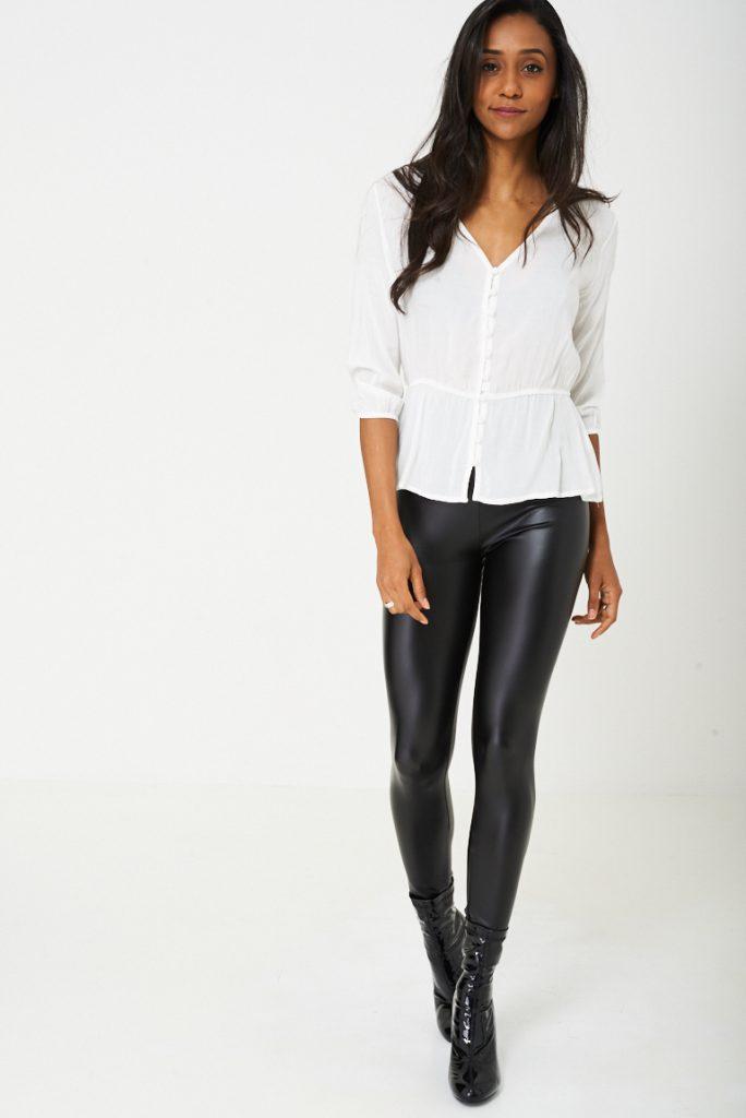 Leather Look Legging in Black