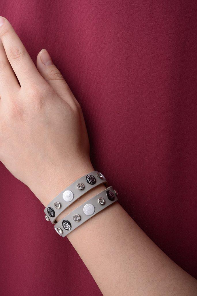 Vintage Inspired Leather Grey Bracelet